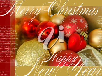 Merry Christmas and Happy New Year festive card with red and yellow Christmas-tree toys, text and heart on wooden background. Colorful Christmas poster. Holiday greeting card. Cover, wrapper.