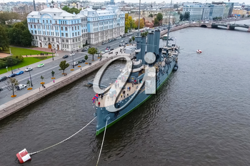 Pererburg, Russia - May 29, 2018: Cruiser Aurora in the River Neu, the city of St.Petersburg. Open to tourists. The symbol of the revolution of 1917.
