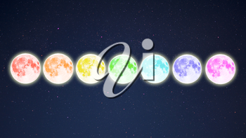 Row of rainbow colored full moons on starry sky background. Full moon and stars.