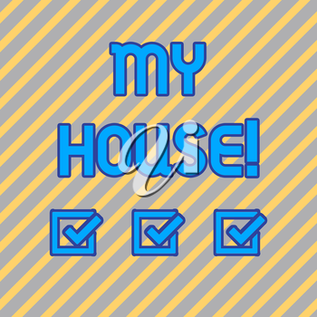 Text sign showing My House. Business photo text place you can feel comfortable cooking living and sleeping in Seamless Diagonal Pattern of Pale Gold and Silver Stripes for Formal Theme