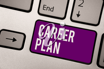 Conceptual hand writing showing Career Plan. Business photo showcasing ongoing process where you Explore your interests and abilities Keyboard purple key computer computing reflection document