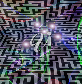 3D maze and rays of lights.
