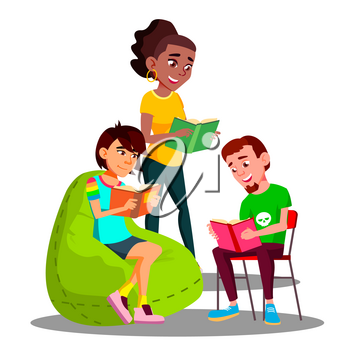 Multicultural Student Group Boys And Girls Reading Their Books Vector. Illustration