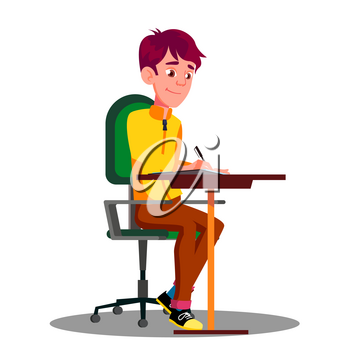 Student With Pen In Hand Writing Exams On Sheet Of Paper Vector. Illustration
