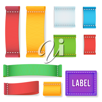 Color Label Fabric Blank Vector. Collection Colorful Blank Labels, Badges With Copyspace For Text Isolated On white Background