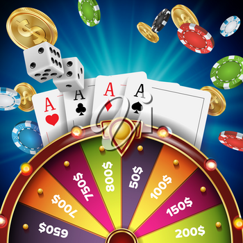 Wheel Of Fortune Poster Vector. Spinning Lucky Roulette. Gambling Background. Bright Lottery Leisure Casino Illustration