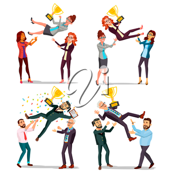 Winner Business People Set Vector. Man, Woman. Throwing Colleague Up. Colleague Celebrating Goal Achievement. First. Prize. Holding Golden Cup. Champion Number One. Cartoon Illustration