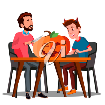 Father And Son Making A Pumpkin For Halloween Vector. Halloween Illustration