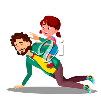 Father Rolling On His Back A Small Daughter Vector. Illustration