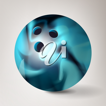 Bowling Ball Vector. 3D Realistic Illustration. Shiny Clean