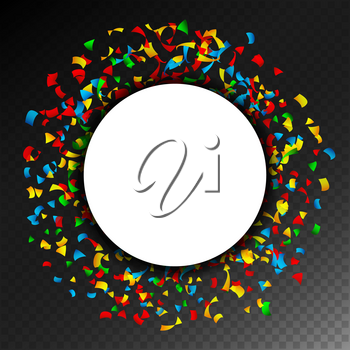 Confetti Falling Vector. Bright Explosion Isolated On Transparent Background For Birthday, Party, Holiday Decoration.