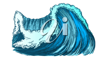 Breaking Pacific Ocean Marine Wave Storm Vector. Enormous Huge Water Wave With Foam Good Place For Extreme Sport Surfing. Nature Aquatic Tsunami Color Illustration
