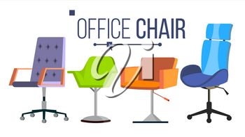 Chairs Vector. Furniture. Set Modern Chair Objects. House Scene Creator. Isolated Flat Illustration