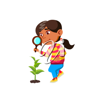Girl Child Researching Plant With Magnifier Vector. Hispanic Schoolgirl Research Growing Plant With Magnifying Glass Outdoor. Character Scientist Studying Biology Flat Cartoon Illustration