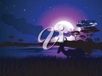 Colorful night scene, african landscape with silhouette of trees and antelopes.