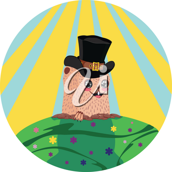 Cartoon kawaii animal, groundhog day greeting illustration.