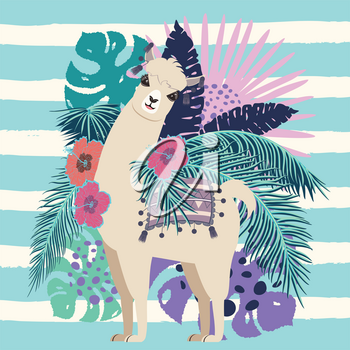 Floral banner with cute llama, tropical leaves and flowers design.
