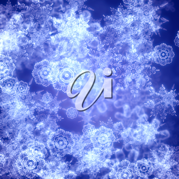 Winter illustration with decorative snowflakes on blue background.