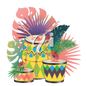 Music design with colorful festive drum and tropical leaves and flowers.