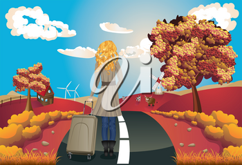 Autumn rural landscape with a road, trees and girl tourist illustration.
