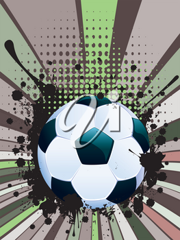 Retro rays and soccer ball, sport background.