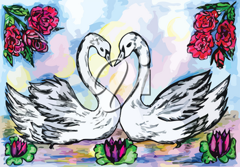 Grunge sketch of two swans in the pond, abstract illustration.