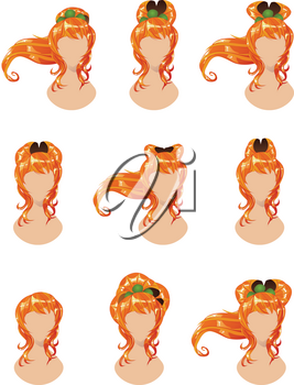 Set of different hairstyles for long red hair.