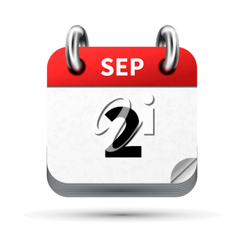Bright realistic icon of calendar with 2 september date on white