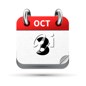 Bright realistic icon of calendar with 3 october date on white