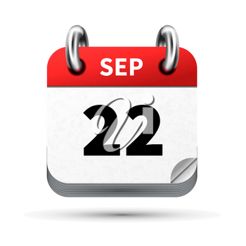 Bright realistic icon of calendar with 22 september date on white