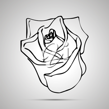 Cute outline rosebud, simple black icon with shadow