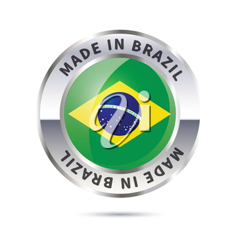 Glossy metal badge icon, made in Brazil with flag