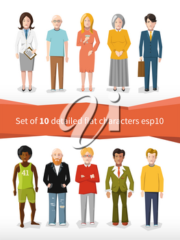 set of 10 detailed flat characters isolated on white
