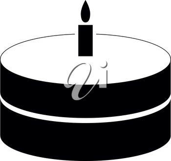 Cake with candle it is the black color icon .