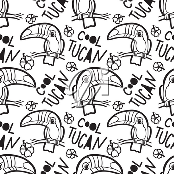 Coloring book for adults toucan. Tropical Seamless pattern. american, bill, ramphastida