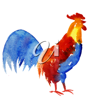 Rooster symbol 2017. Bright Watercolor illustration. Fashionable print on t-shirts, bags, cases for smartphones, textiles, fashion design