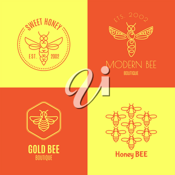 Logo with insect. Badge Bee for corporate identity, packaging luxury brand of bee products, eco-cosmetics, soap, medical products and honey. Trend style in thin line.