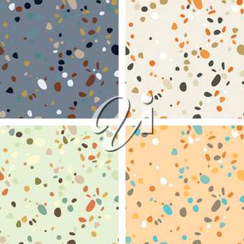 Terrazzo seamless pattern. Imitation of a Venetian stone floor with granite and quartz chips for the house. The texture is suitable for textiles, prints, packaging design. Vector illustration.