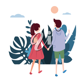 Young loving couple goes holding hands, on their business. Background flora flowers floral leaves