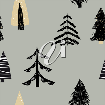 Scandinavian seamless pattern pine trees spruce. Vector abstract minimalism style for decoration textile, covers, package, wrapping