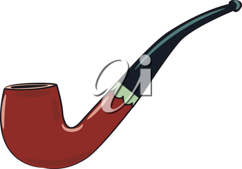 A classic brown and black tobacco pipe vector color drawing or illustration