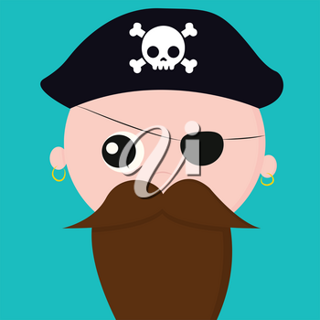 Cute face of pirate with earrings covers one of his eyes with a patch and wears a cap that bears the head of a skeleton with bones vector color drawing or illustration