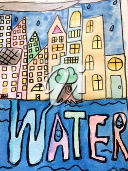 Childrens painting cityscape saving water with tree and blue sky