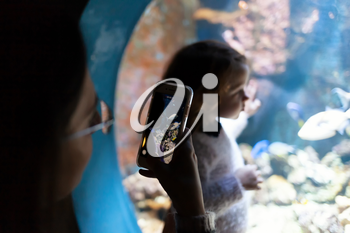 Young woman with child watch a fish in aquarium. Silhouettes of people visiting the large aquarium in Livorno, Italy.