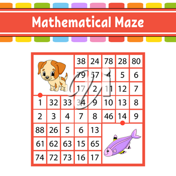 Mathematical maze. Game for kids. Number labyrinth. Education developing worksheet. Activity page. Puzzle for children. Cartoon characters. Riddle for preschool. Color vector illustration