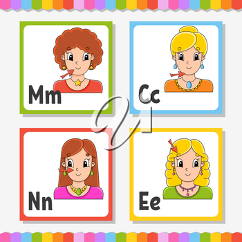 English alphabet. Letter M, C, N, E. ABC square flash cards. Cartoon character isolated on white background. For kids education. Developing worksheet. Learning letters. Color vector illustration.