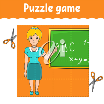 Puzzle game for kids. Education developing worksheet. Back to school. Color activity page. For toddler. Riddle for preschool. Isolated vector illustration in cartoon style.