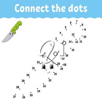 Dot to dot game. Draw a line. For kids. Activity worksheet. Coloring book. With answer. Cartoon character. Vector illustration.