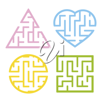 A set of mazes. Game for kids. Puzzle for children. Labyrinth conundrum. Find the right path. Vector illustration.
