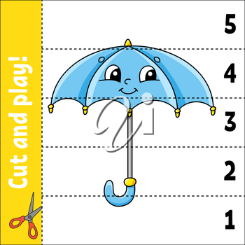 Learning numbers 1-5. Cut and play. Education worksheet. Game for kids. Color activity page. Puzzle for children. Riddle for preschool. Vector illustration. Cartoon style. Autumn theme.